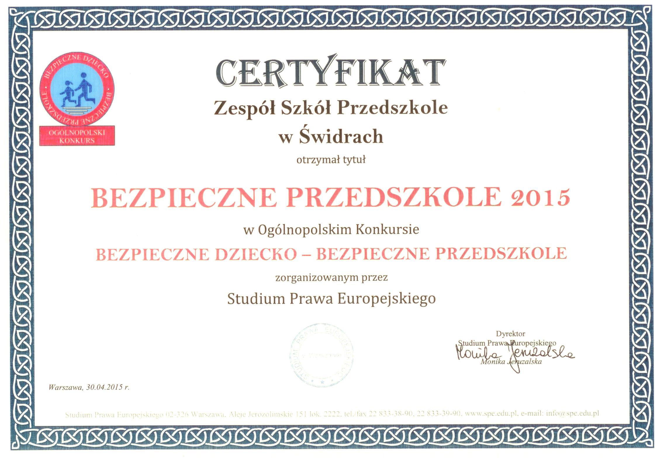 Certyfikat Bezpieczne Przedszkole