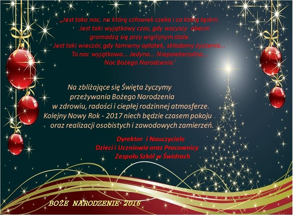 Boże Narodzenie 2016 - Życzenia świąteczne